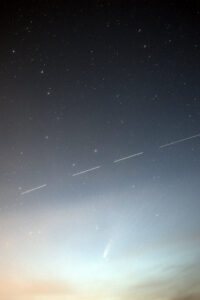 Big Dipper, comet NEOWISE, and the International Space Station in one shot